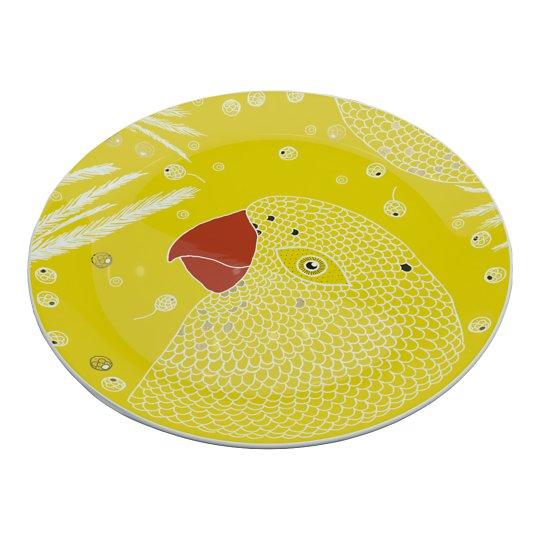 Soe kollane portselantaldrik linnuga 28cm