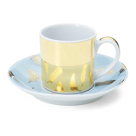 Portselanist kuldne espressotass helesinise alustassiga 9cl